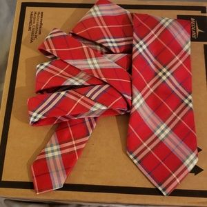 Red Nova check Burberry London tie HARD TO FIND!